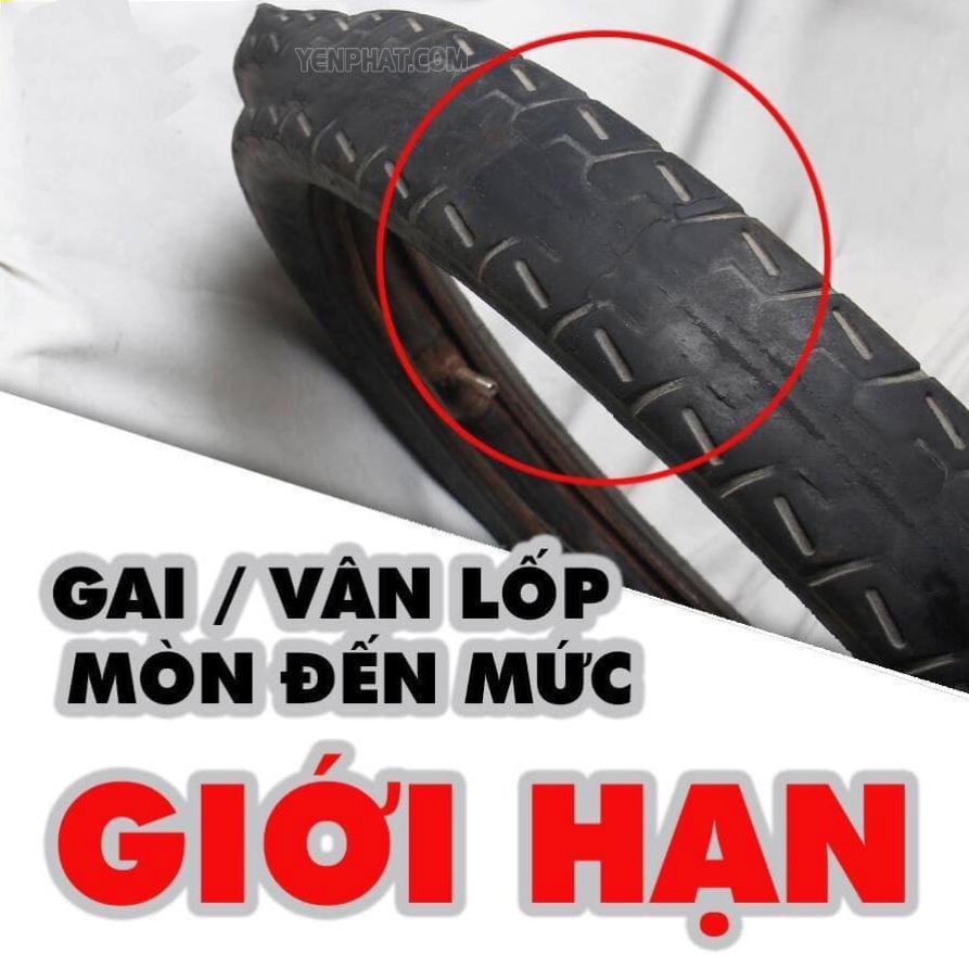 Gai lốp bị mòn đến mức giới hạn theo luật định